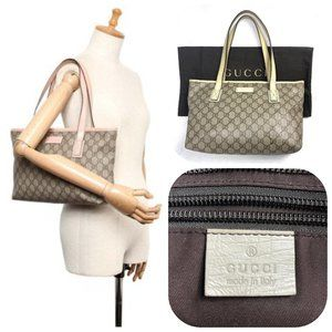 Auc Gucci Brown GG Monogram Supreme Tote Bag